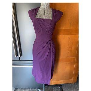 Stop staring eggplant faux wrap dress